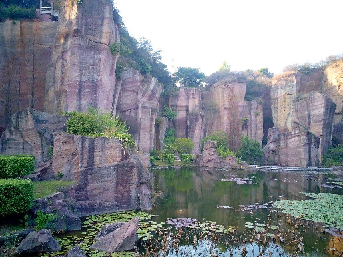 Lotus Hill, Guangdong, China, Red Sandstone Cliffs
