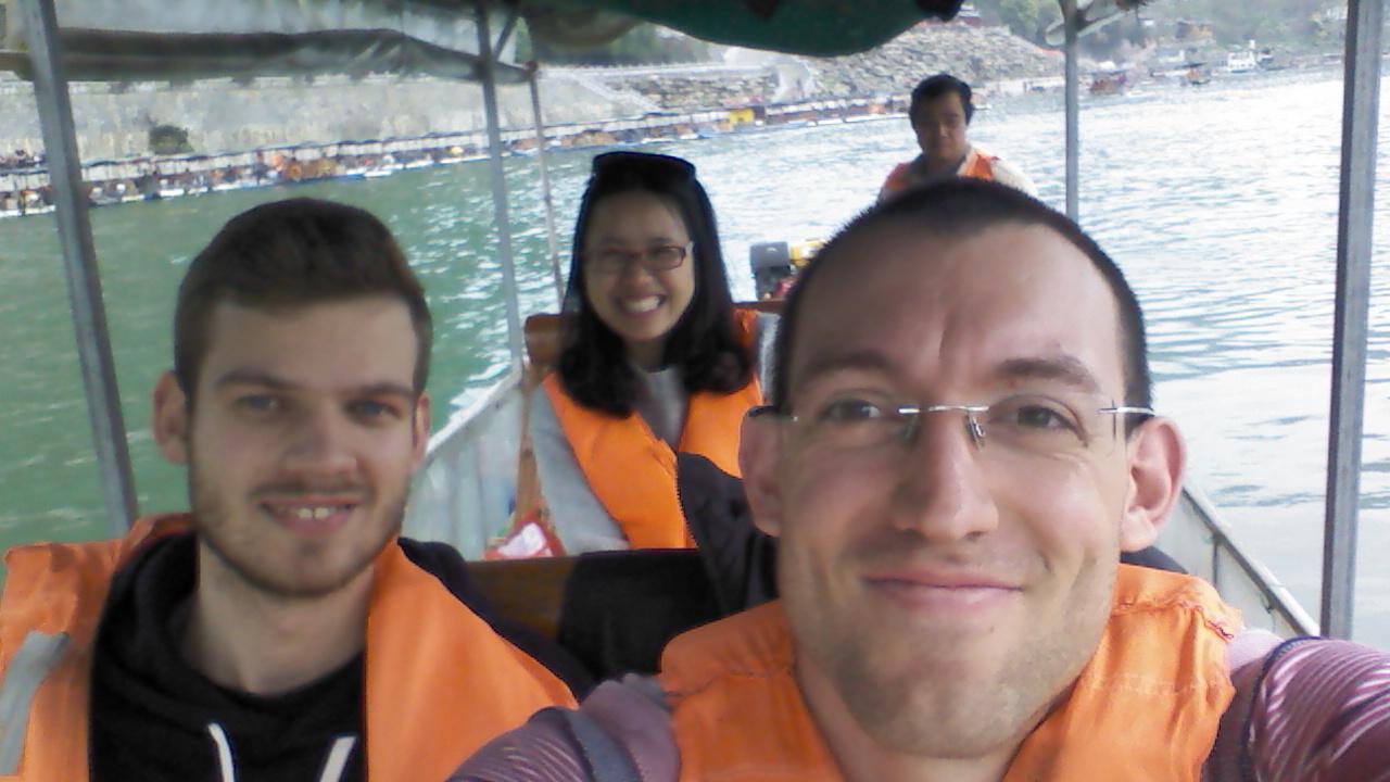 Happy-3-Friends Selfie, Li River Cruise, Yangshuo, China