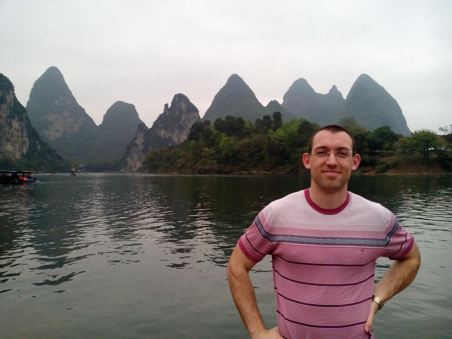 Me, Li River, Yangshuo, China, karst formations