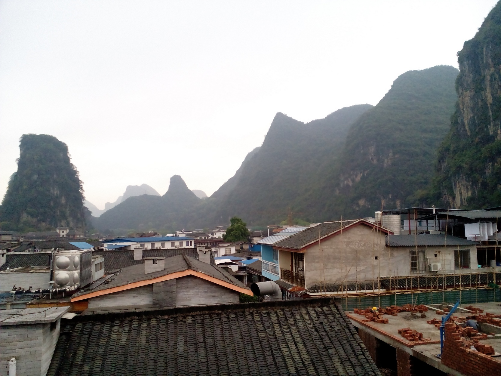 Yangshuo as seen from the hostel, rainy day