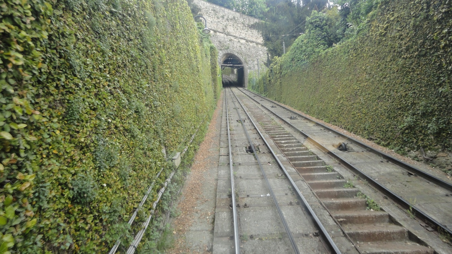 Green Bergamo Italy Cable Train to the Top