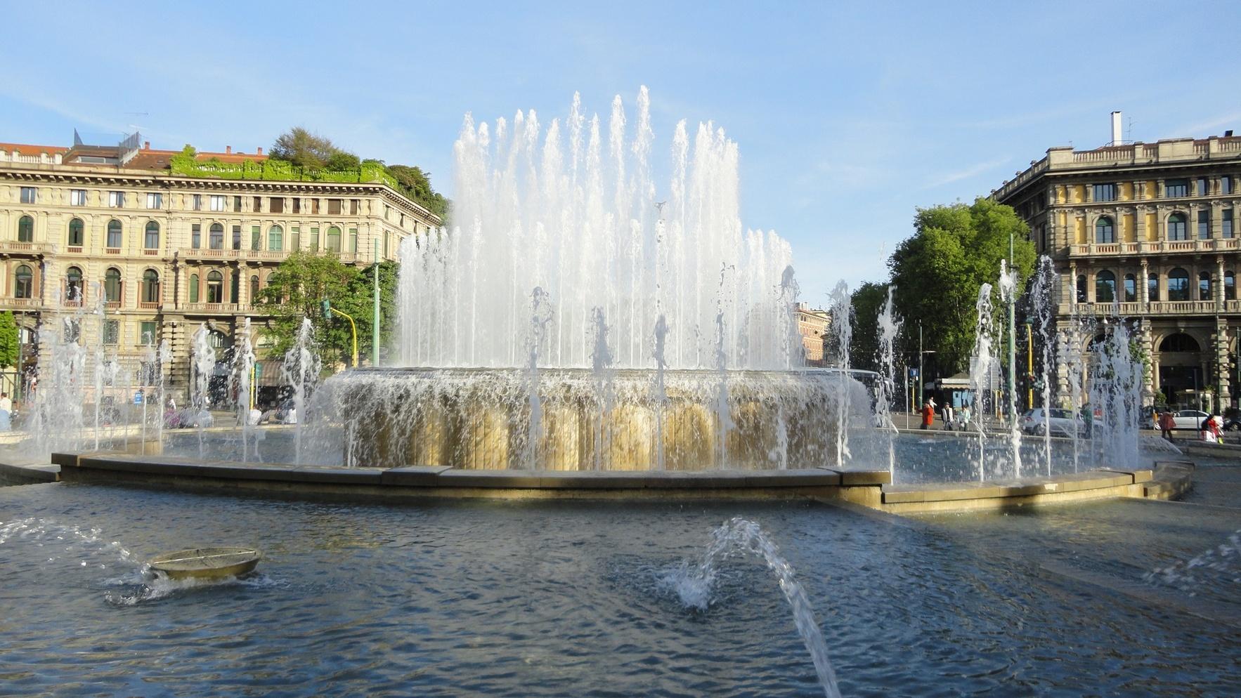 Milan Fountain near Sforzesco Castle Italy