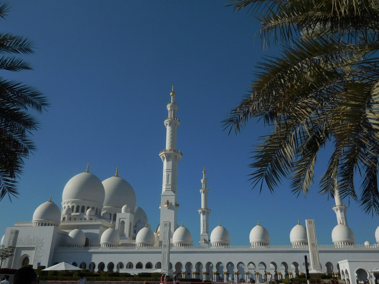 Abu Dhabi, Sheikh Zayed Mosque, seen from Outside, UAE