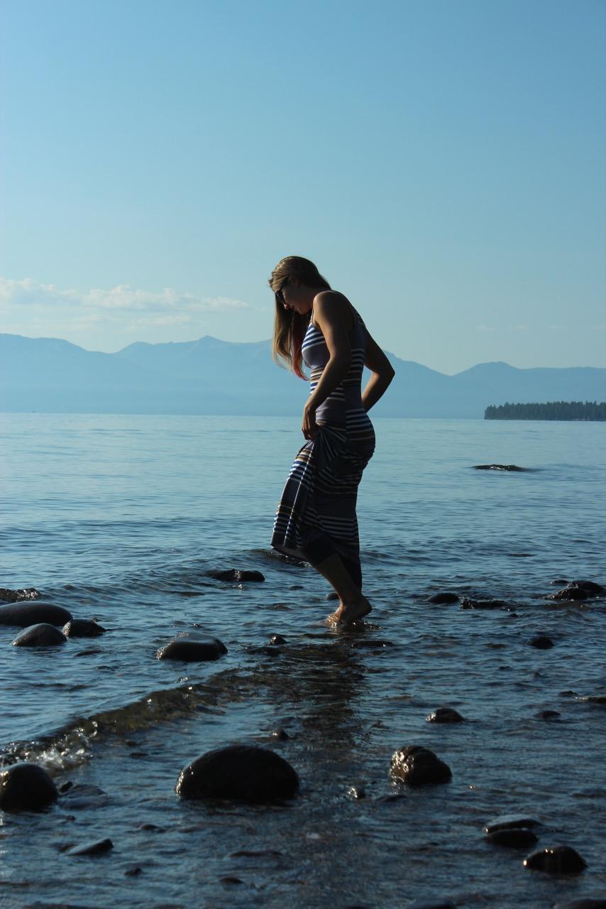 8000 miles trip - Meredith dipping her feet in Lake Tahoe, California, USA