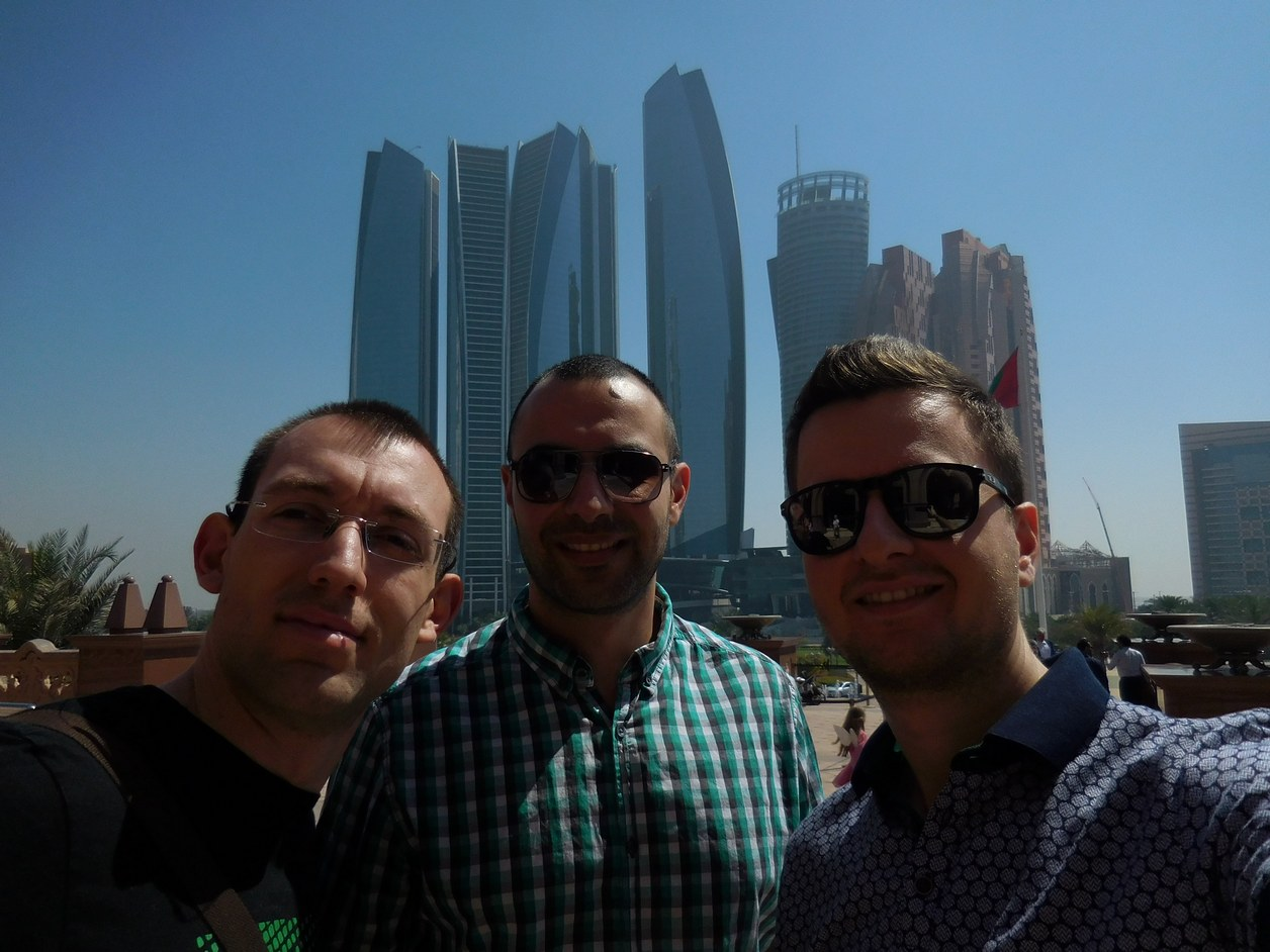 Emirates Palace, Abu Dhabi, UAE, Etihad Towers in Front, Garden