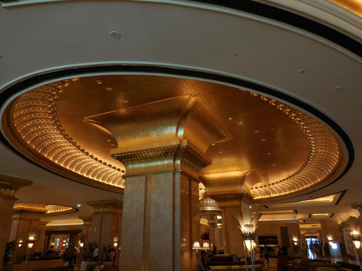Emirates Palace, Abu Dhabi, UAE, Gold Interior, Pillars, Domes, Columns