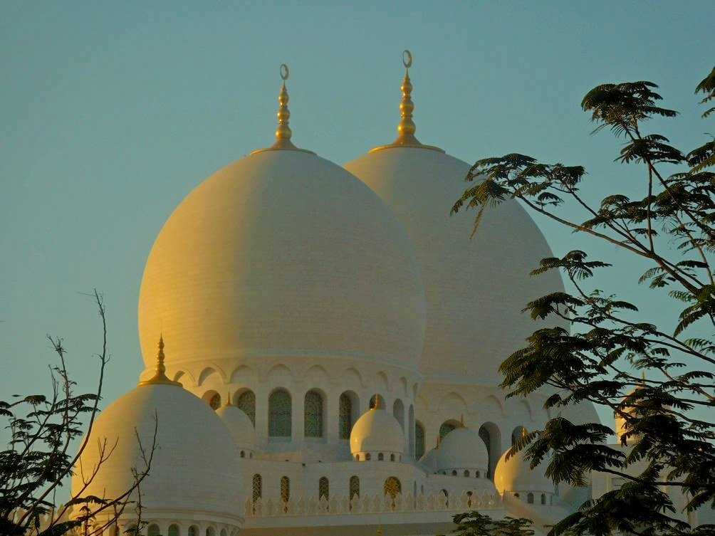 Sheikh Zayed Grand Mosque, Abu Dhabi, UAE Close Shot, Outside, Two Domes
