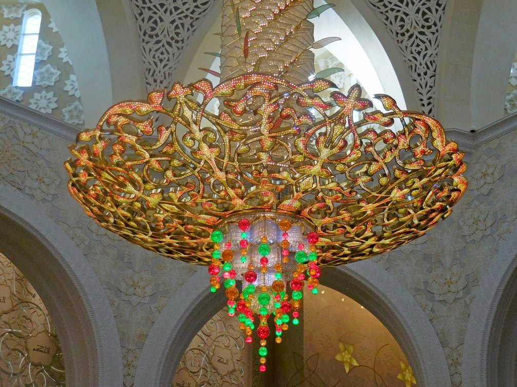 Sheikh Zayed Grand Mosque, Abu Dhabi, UAE, Magnificent Chandelier, Close Shot, Swarovski