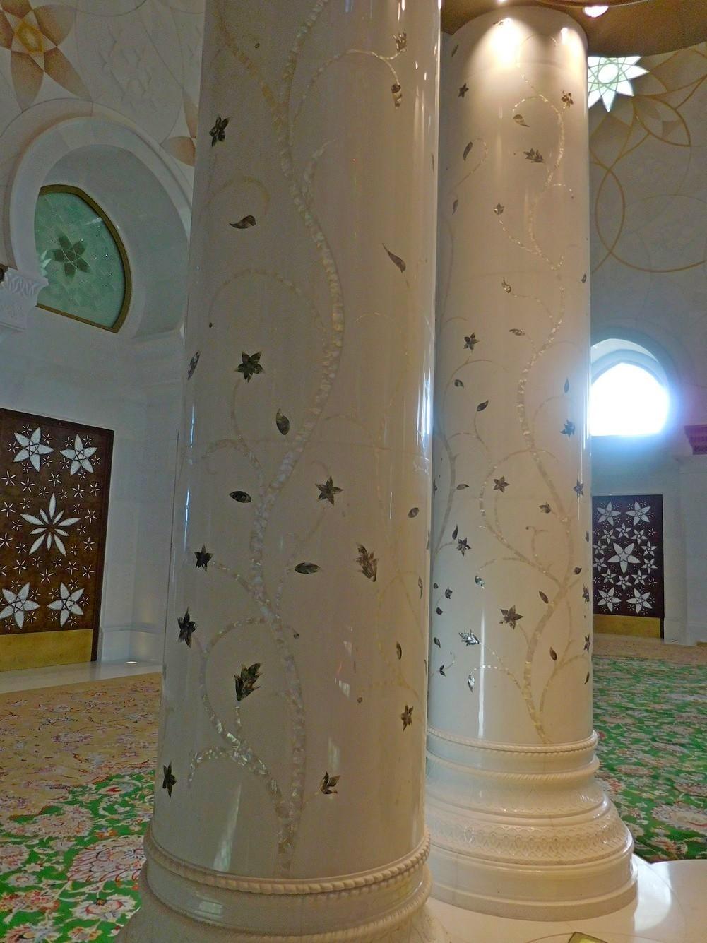 Sheikh Zayed Grand Mosque, Abu Dhabi, UAE, Splendid Columns Inside the Mosque