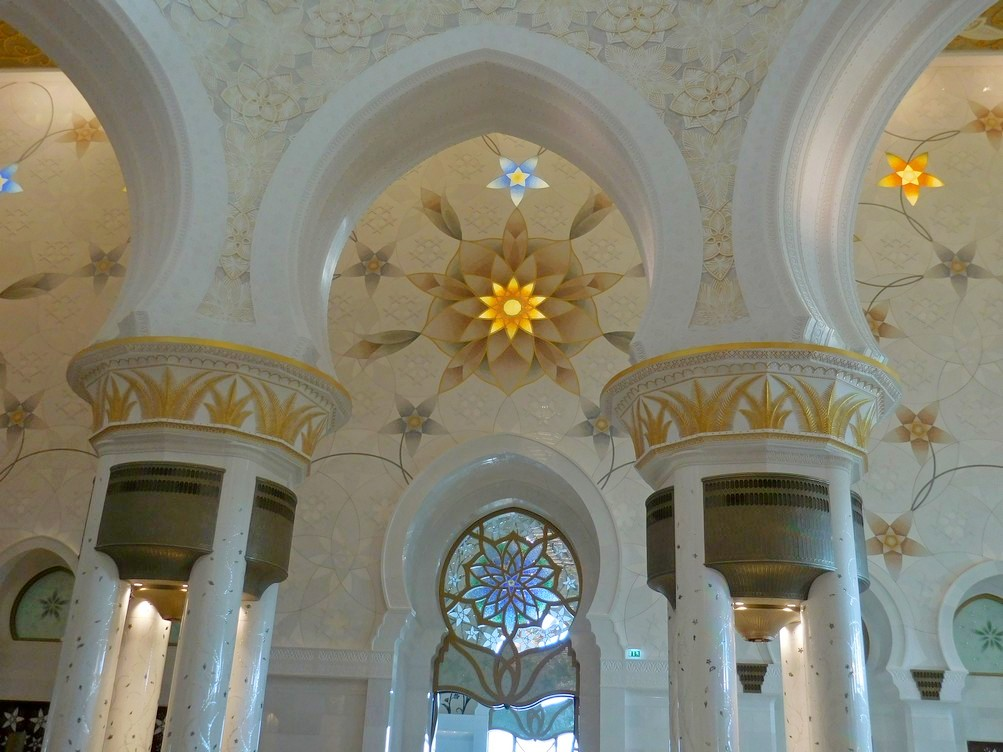 Sheikh Zayed Grand Mosque, Abu Dhabi, UAE, Splendid Interior, Quran Lines