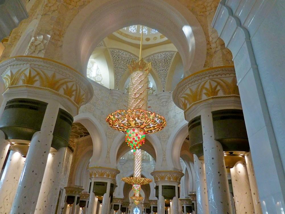Sheikh Zayed Grand Mosque, Abu Dhabi, UAE, The Three Chandeliers in a Line