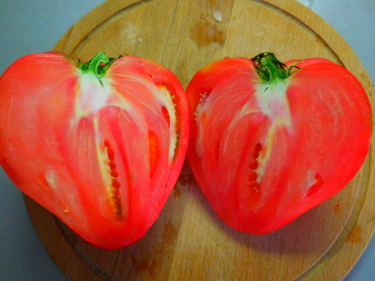Bulgarian Fruits and Vegetables, Oxheart Tomato, Bull's Heart Tomato, In Half, Juicy Flesh