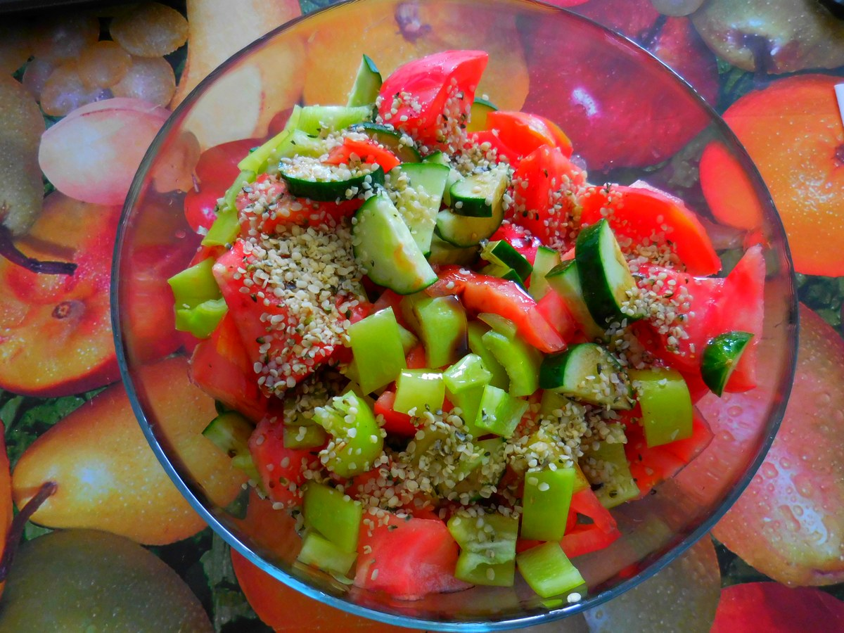 Bulgarian Fruits and Vegetables, Oxheart Tomato, Cucumber, Pepper, Salad, Hemp Seeds, Pure Delight