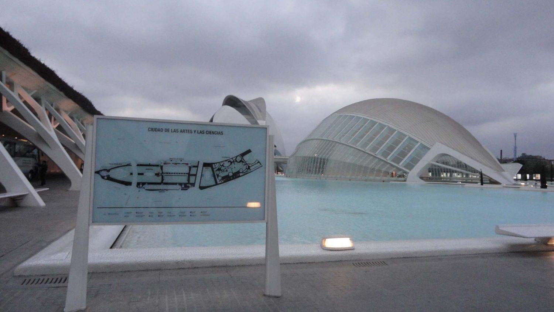 Valencia, Spain, Ciudad de las Artes y las Ciencias, L'Hemisfèric from Distance