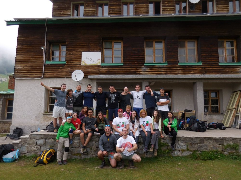 On the Footsteps of Vassil Levski, Hike in the Mountains, Bulgaria, the Group in front of Heaven Hut, near the Heavenly Spray Waterfall
