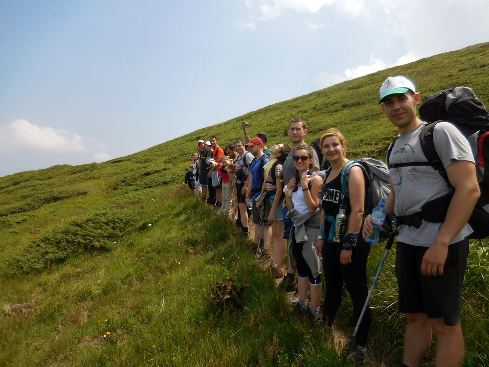 On the Footsteps of Vassil Levski, Hike in the Mountains, Bulgaria, the Group on the Way to Tazha Hut, Stara Planina