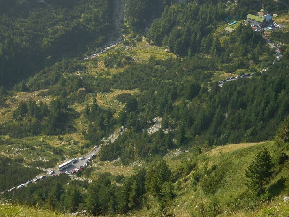 Pirin Mountains, Bulgaria, Many Cars on the Winding Road, Beautiful Shot