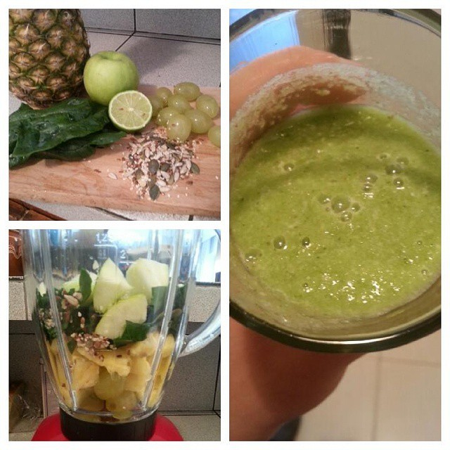 Smoothie, Pineapple, Spinach, Lime Juice, Apples, Non-Soaked Mix Nuts
