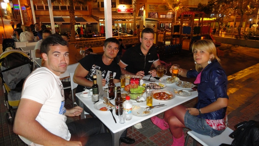 Tenerife, the Island of Eternal Spring, El Medano, Dinner Time, Groupie