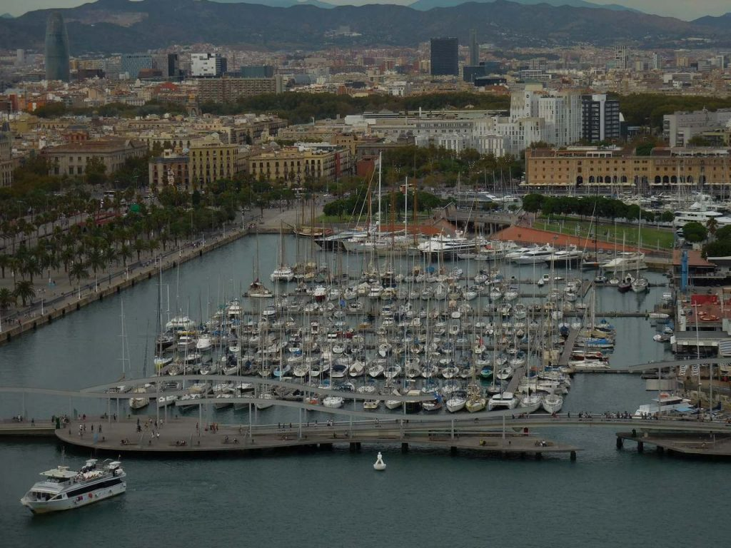 barcelona-spain-cable-car-yacht-port-splendid-view-close-shot