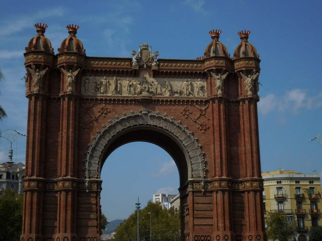 barcelona-spain-citadel-park-triumphal-arch-brickwork