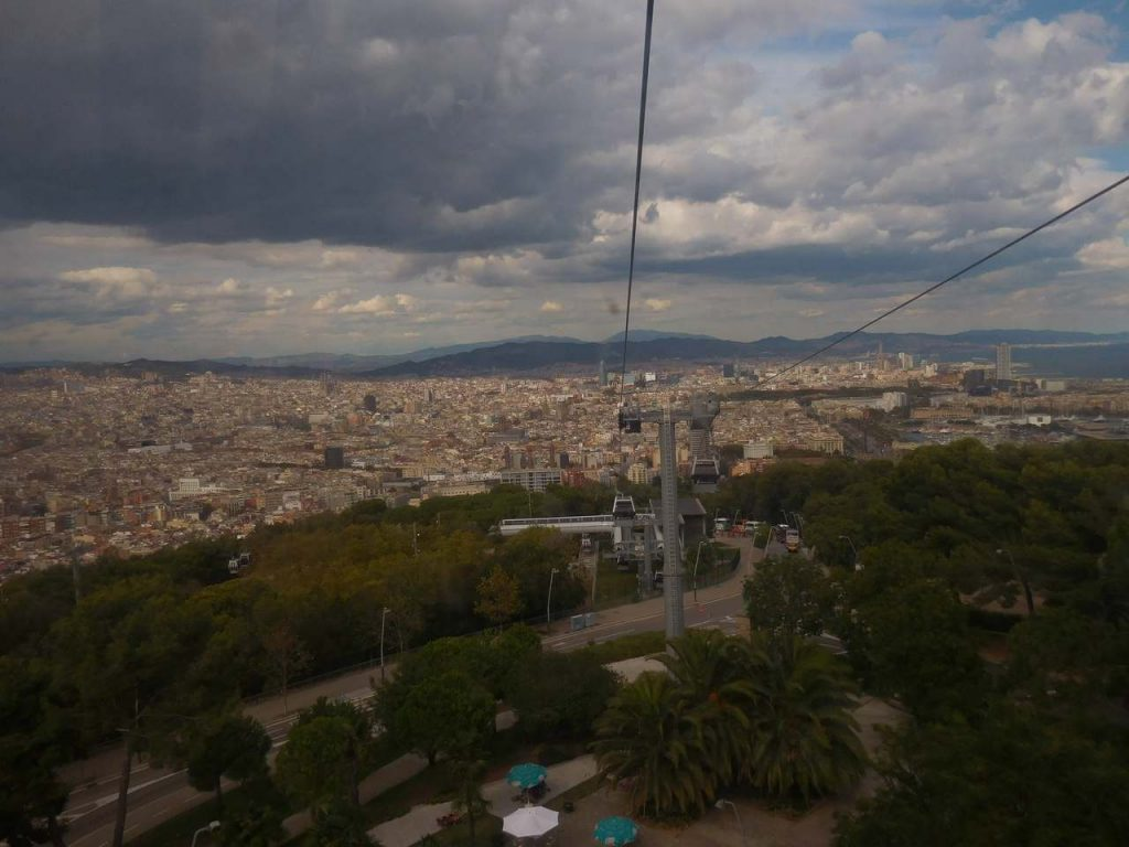 barcelona-spain-montjuic-castle-cable-car-view