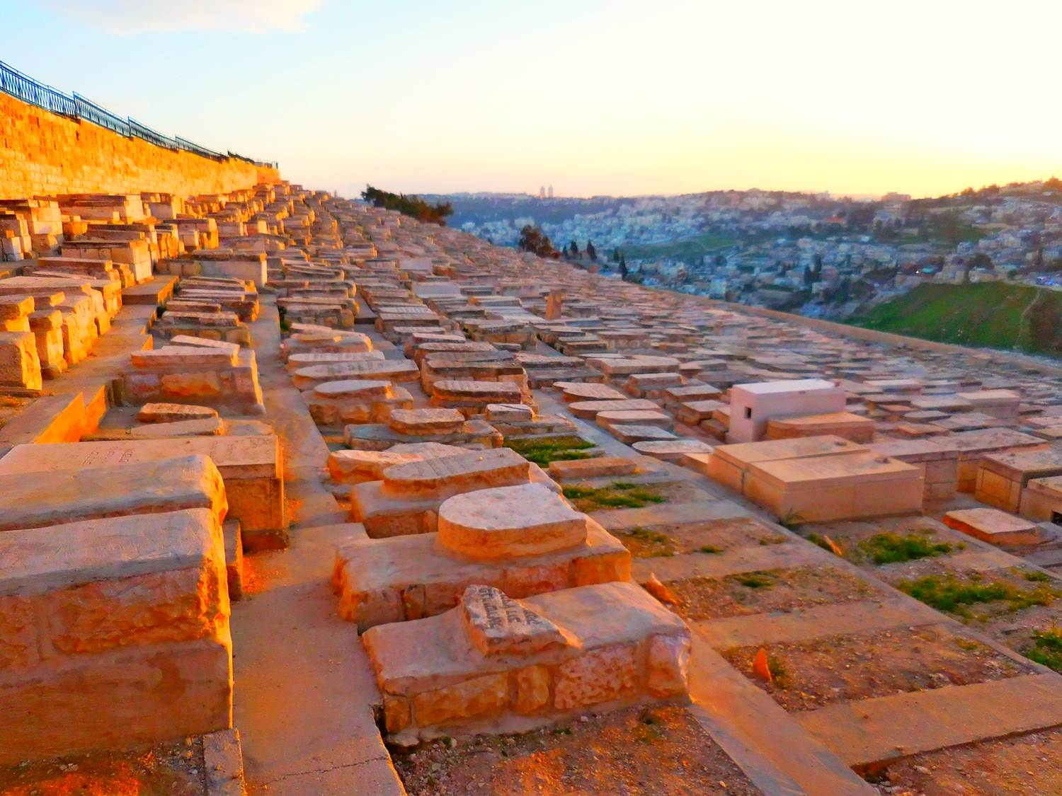 History of Jerusalem, Mount of Olives, jewish graves, sunset
