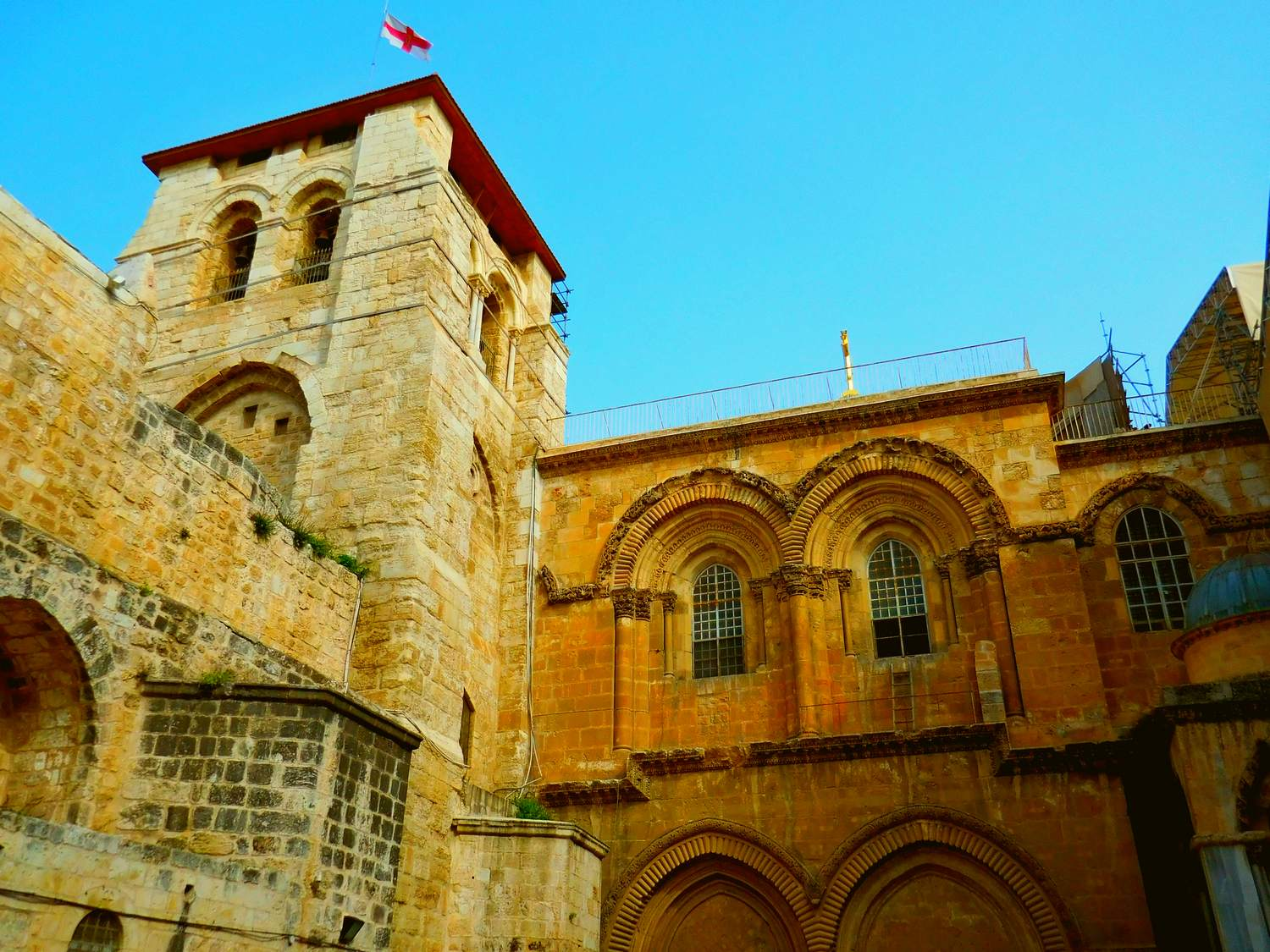 History of Jerusalem, old city, church of the holy sepulchre, outside, ladder