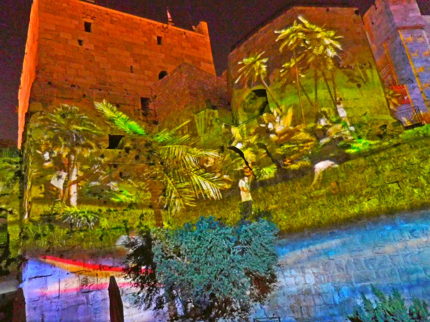 History of Jerusalem, tower of david, light show, palms