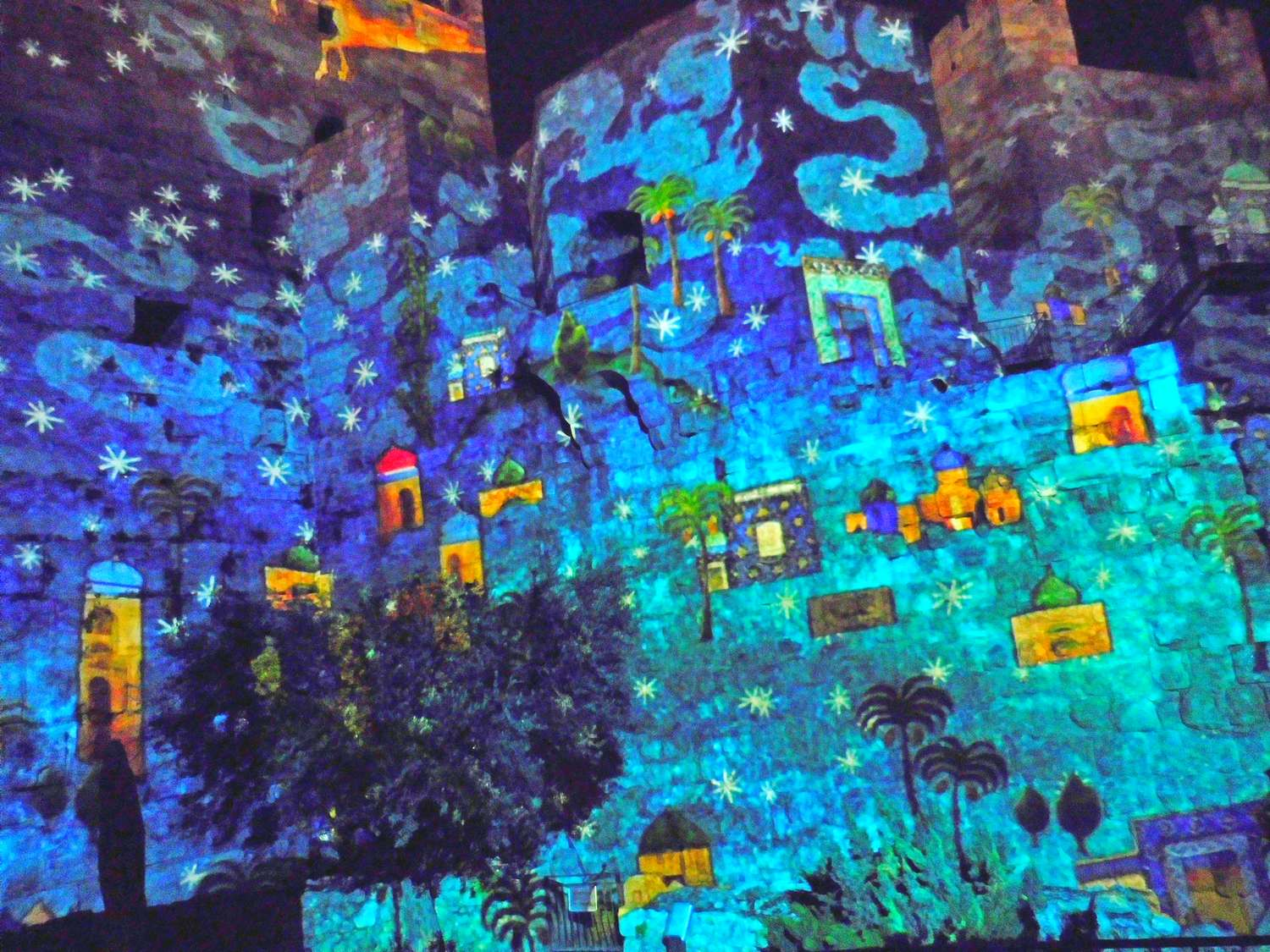 History of Jerusalem, tower of david, light show, fairy of colours