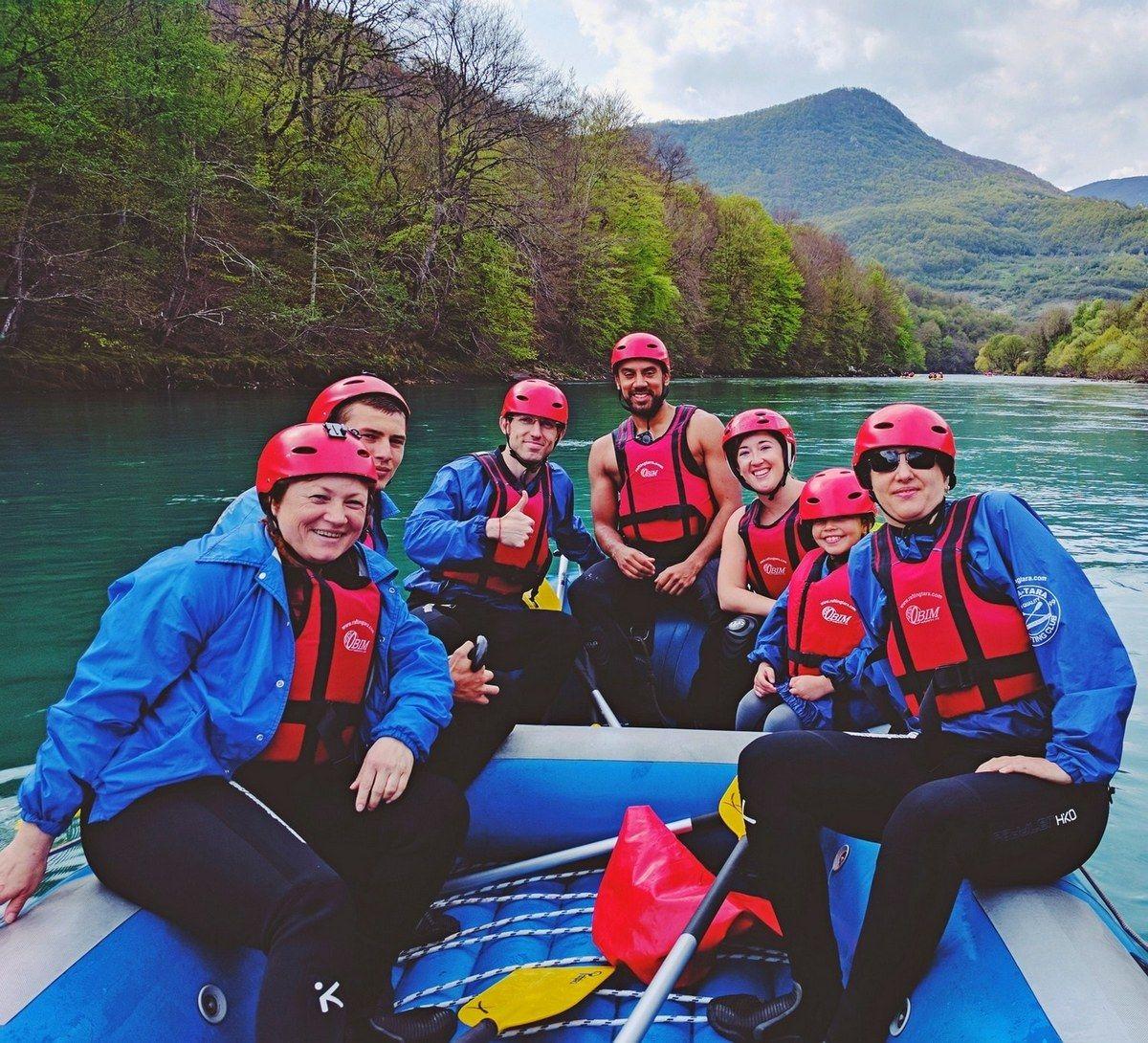 Rafting Tara, the whole group, Drina