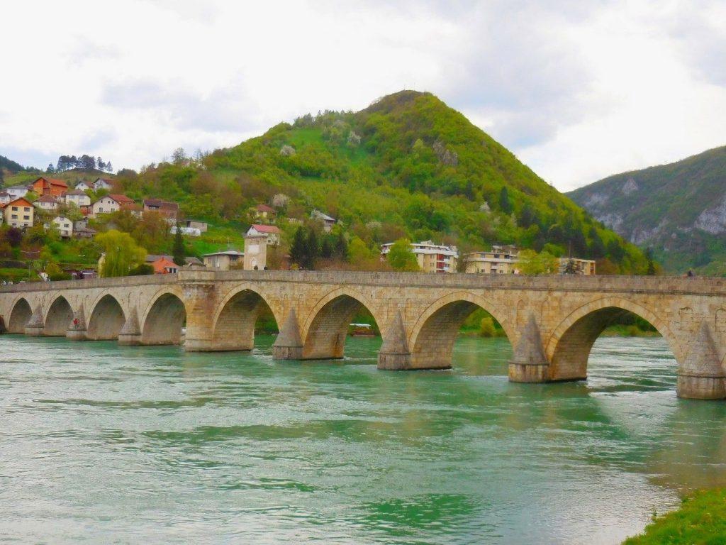 visegrad, bridge, bosnia and herzegovina, verdure