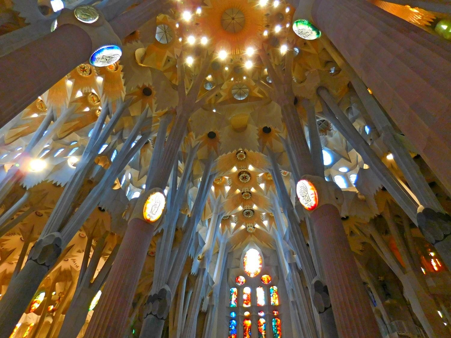 Sagrada Familia, Barcelona, Interior, Main Columns, Four Evangelists