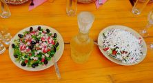 Home-made Rakia, Shopska Salad, Kavarna Region, Bulgaria
