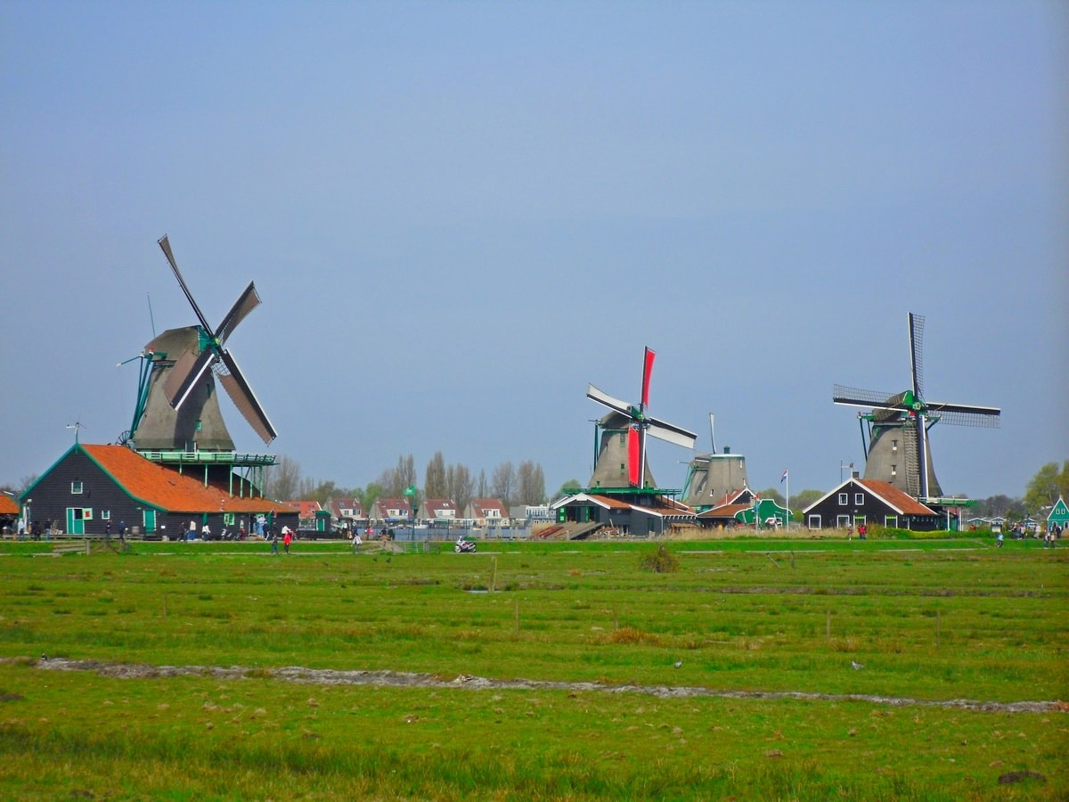 Zaanse Schans, the Netherlands, Imposing Windmills in Action